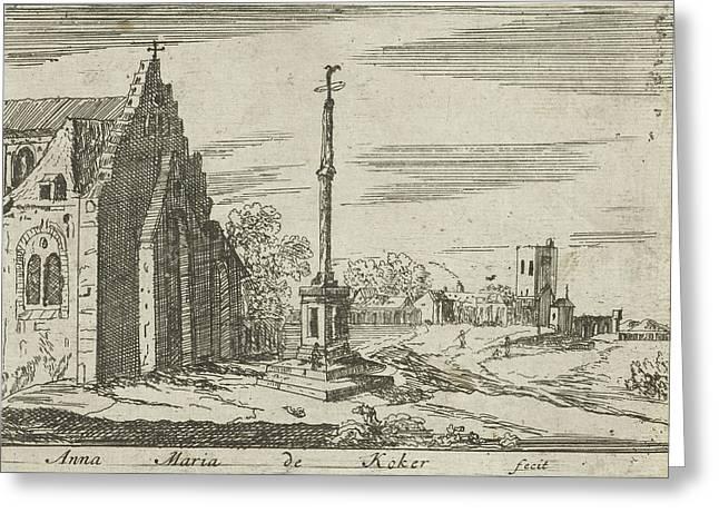 Landscape With A Memorial Column, Anna Maria De Koker Greeting Card by Anna Maria De Koker