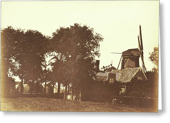 Landscape With A Mill And Houses On The Water In Zaandam Greeting Card by Artokoloro