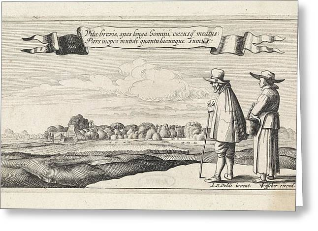 Landscape With A Peasant Couple, Jan Van De Velde II Greeting Card by Jan Van De Velde (ii) And Anonymous And Claes Jansz. Visscher (ii)