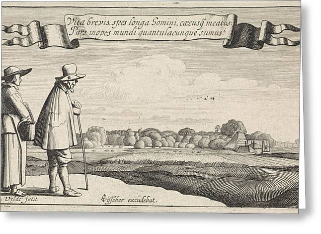 Landscape With A Peasant Couple, Jan Van De Velde II Greeting Card by Jan Van De Velde (ii) And Claes Jansz. Visscher (ii)