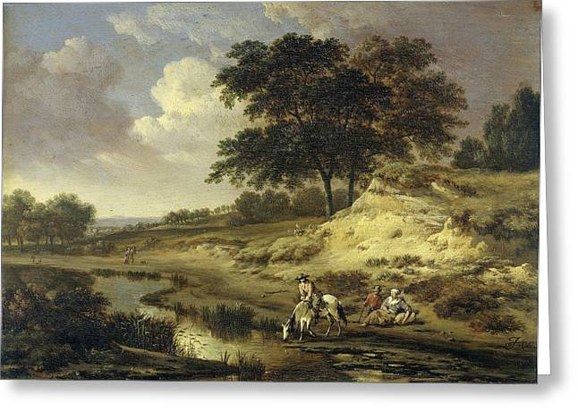 Landscape With A Rider Watering His Horse At A Brook Greeting Card