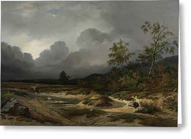 Landscape With A Thunderstorm Brewing, Willem Roelofs Greeting Card by Litz Collection