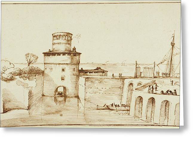 Landscape With A View Of A Fortified Port Guercino Giovanni Greeting Card by Litz Collection
