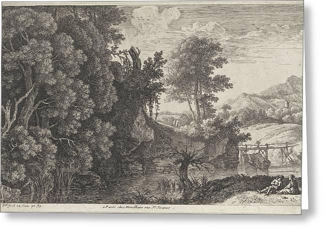 Landscape With A Wooden Bridge, Herman Van Swanevelt Greeting Card by Herman Van Swanevelt And Louis-joseph Mondhare