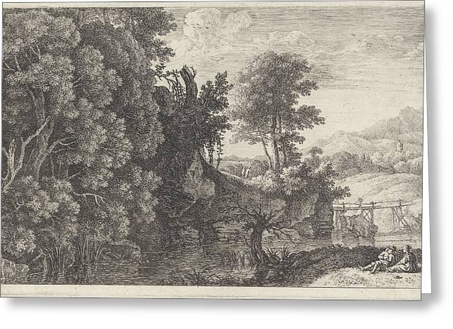 Landscape With A Wooden Bridge, Print Maker Herman Van Greeting Card by Herman Van Swanevelt