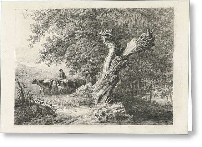 Landscape With Bare Tree And Shepherd, Constantinus Greeting Card
