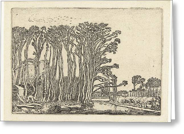 Landscape With Bare Trees At A Water Greeting Card