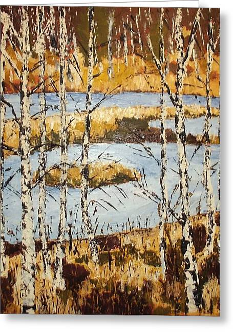 Greeting Card featuring the painting Landscape With Birches by Zeke Nord