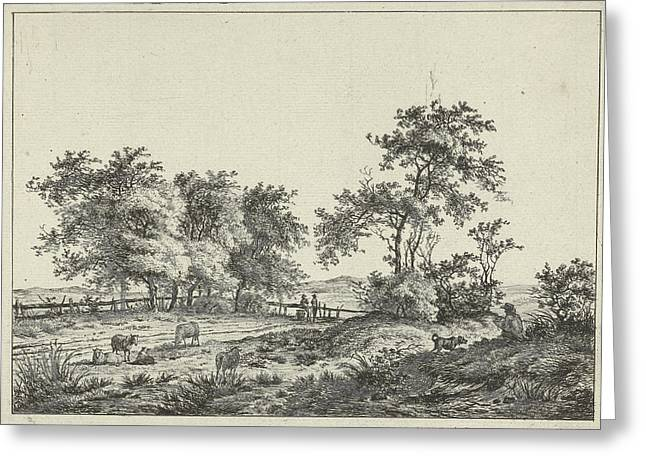 Landscape With Cartoonist And Dog, Hermanus Fock Greeting Card