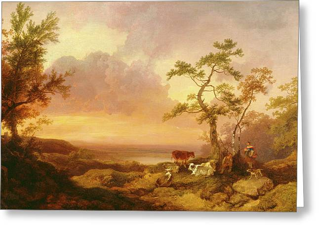 Landscape With Cattle And Peasant Landscape With Cattle Greeting Card by Litz Collection