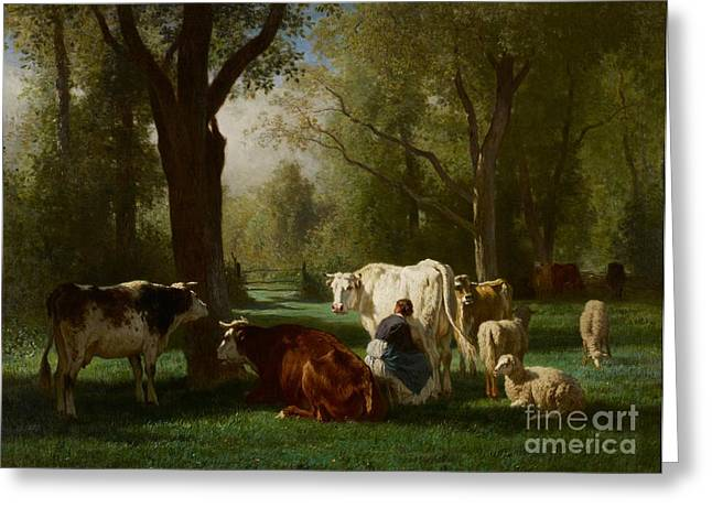 Landscape With Cattle And Sheep Greeting Card by Constant Emile Troyon
