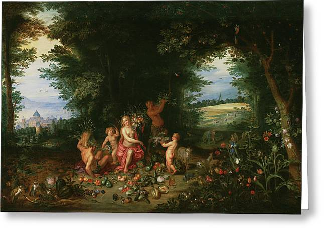 Landscape With Ceres Allegory Of Earth Jan Brueghel Greeting Card