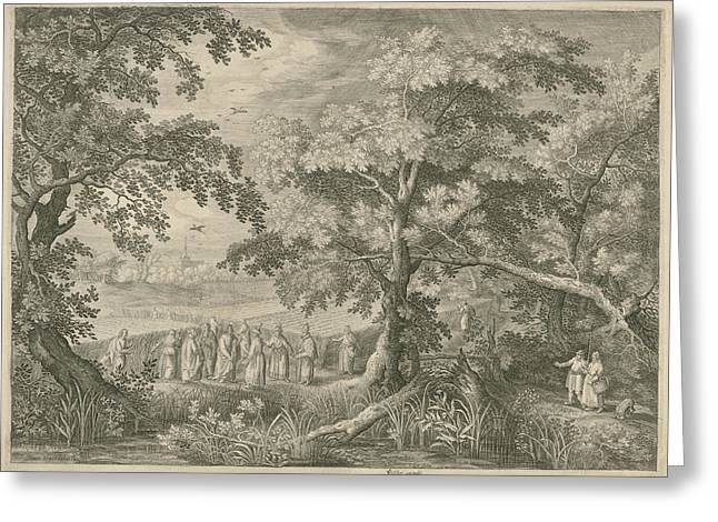 Landscape With Christ And The Disciples In The Cornfield Greeting Card by Jan Van Londerseel And David Vinckboons And Claes Jansz. Visscher Ii