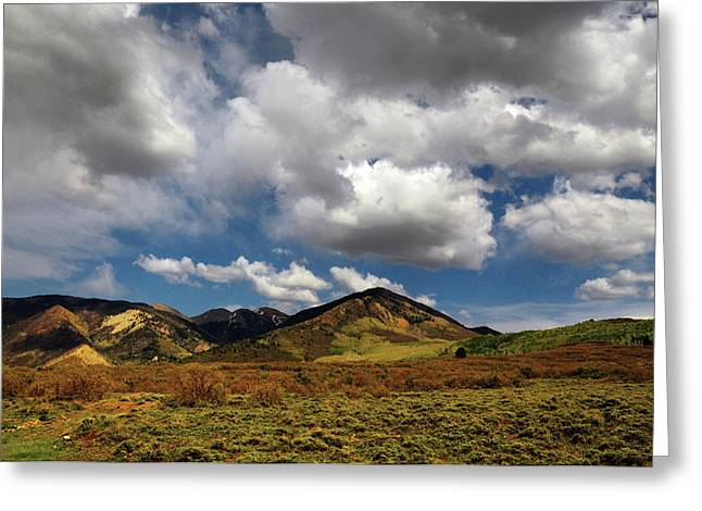 Landscape With Clouds On La Sal Greeting Card by Michel Hersen
