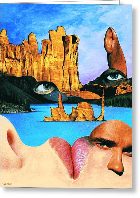Face Book Lake - Fantasy Art Collage Greeting Card by Art America Online Gallery