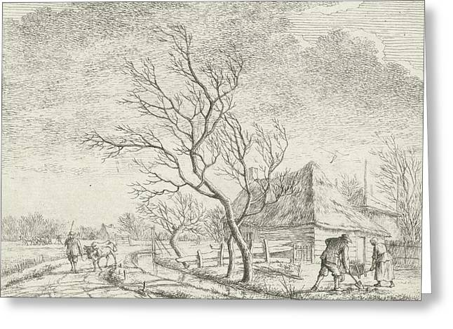 Landscape With Farm And Field, Print Maker Johannes Janson Greeting Card by Johannes Janson