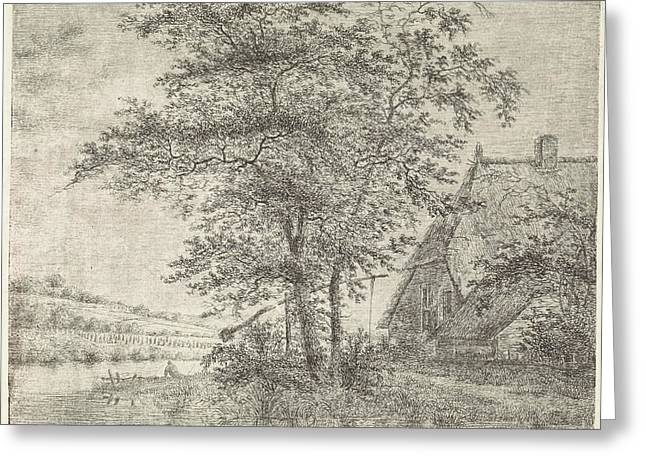 Landscape With Farm And Well, Peter Janson Greeting Card
