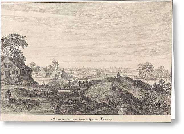 Landscape With Farms, Pieter Nolpe Greeting Card