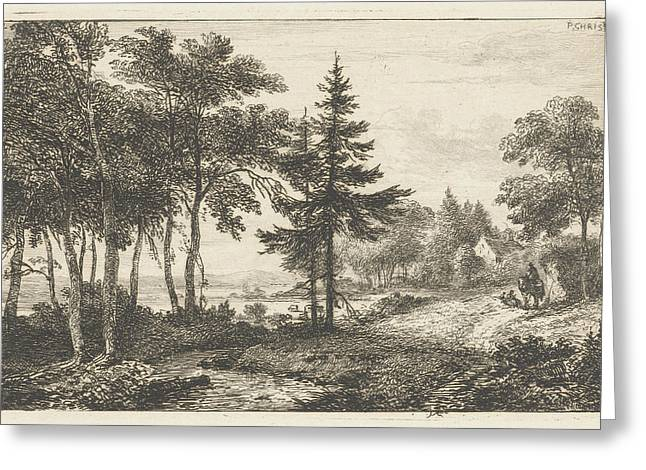Landscape With Fir Tree And Horseman. Print Maker Pieter Greeting Card by Artokoloro