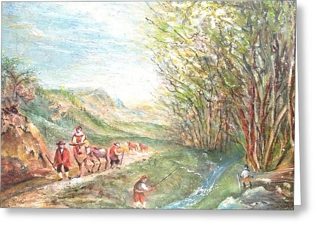 Greeting Card featuring the painting Landscape With Fisherman by Egidio Graziani