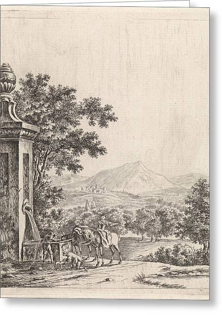Landscape With Fountain, Jan Van Huissen Greeting Card