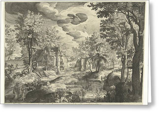 Landscape With Hagar And Ishmael, Germany Greeting Card by Nicolaes De Bruyn