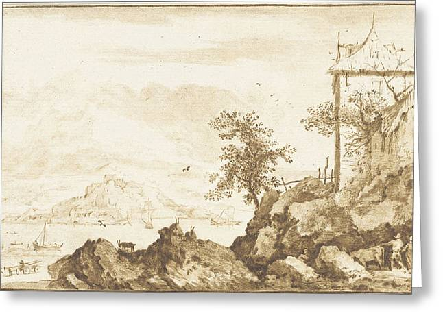 Landscape With In The Background The River Rhine Greeting Card by Jurriaan Cootwijck