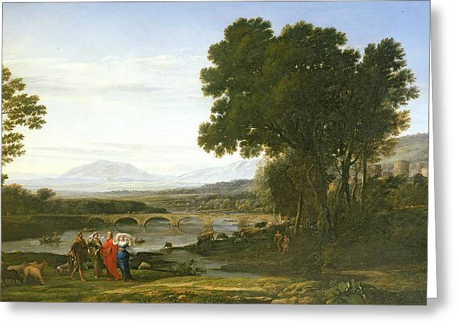 Landscape With Jacob And Laban And Labans Daughters, 1654 Greeting Card by Claude Lorrain