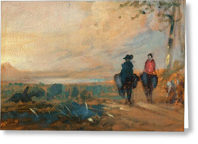 Landscape With Lake And Two Figures Riding Landscape Greeting Card by Litz Collection