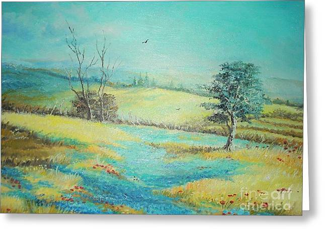 Greeting Card featuring the painting Landscape With Lavanda  by Sorin Apostolescu