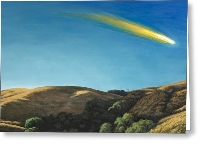 Landscape With Meteor #1 Greeting Card by David Palmer
