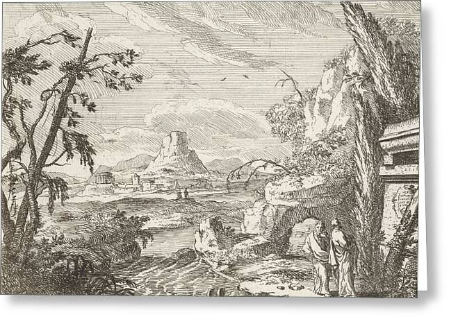 Landscape With Mountains And Ruinous Buildings Greeting Card