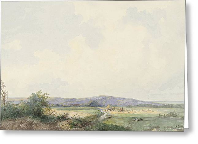 Landscape With Pastures, To The Dunes, Frans Arnold Greeting Card