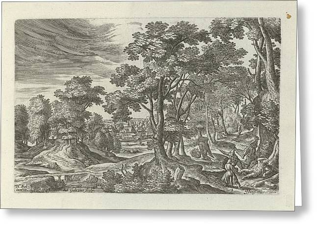 Landscape With Robbery Of The Traveler, Julius Goltzius Greeting Card