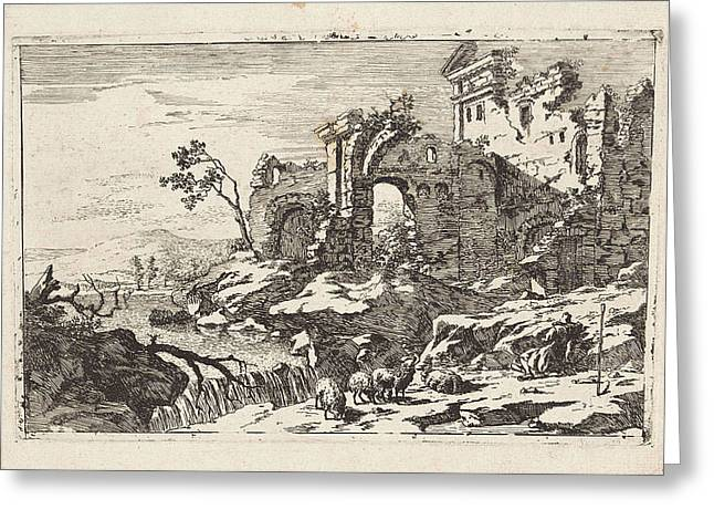 Landscape With Ruins And Waterfall, Jan Smees Greeting Card