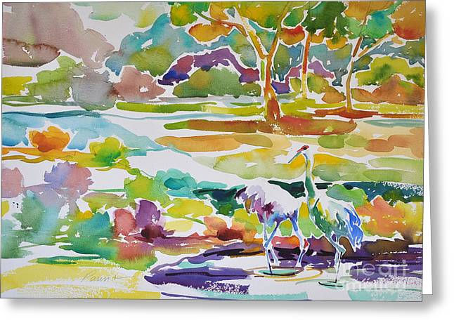 Landscape With Sand Hill Cranes Greeting Card