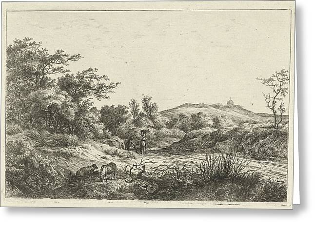 Landscape With Shepherd And Wife, Print Maker Hermanus Fock Greeting Card
