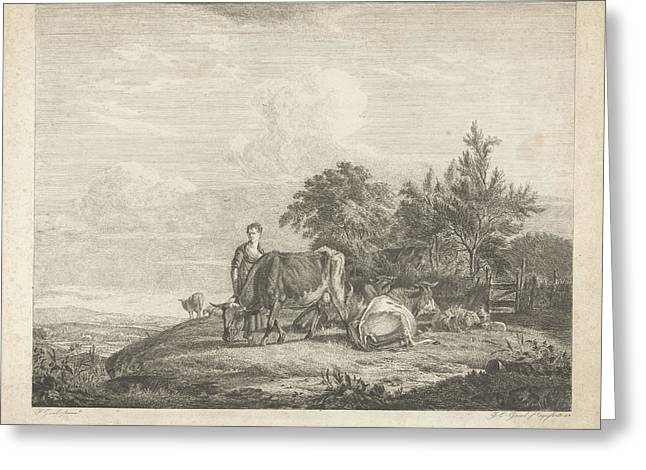 Landscape With Shepherdess With Her Flock Greeting Card by Jacobus Cornelis Gaal And Pieter Gaal