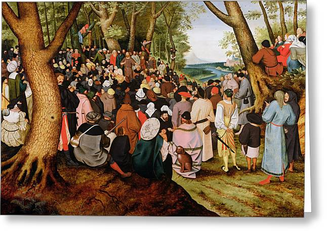 Landscape With Saint John The Baptist Preaching Greeting Card by Pieter the Younger Brueghel