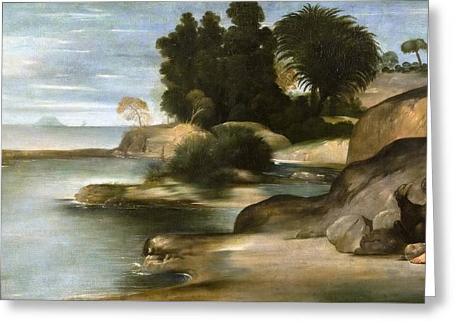 Landscape With St John The Evangelist Greeting Card