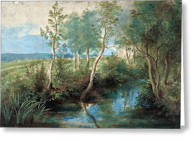 Landscape With Stream Overhung With Trees Greeting Card by Peter Paul Rubens