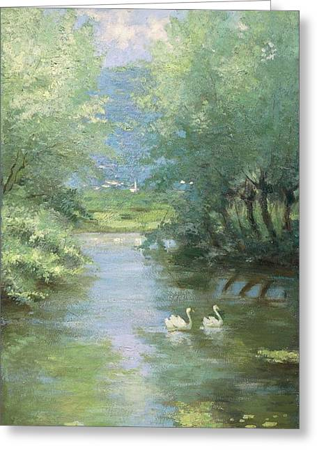 Landscape With Swans Greeting Card by Guido Bertarelli