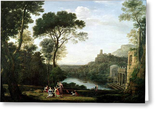 Landscape With The Nymph Egeria Oil On Panel Greeting Card by Claude Lorrain