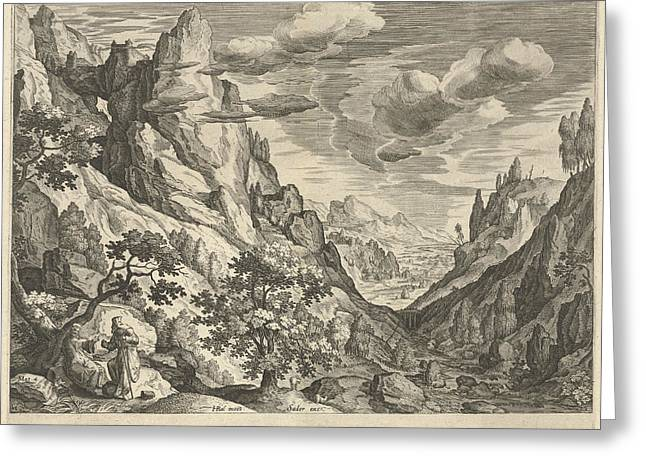 Landscape With The Temptation Of Christ In The Desert Greeting Card