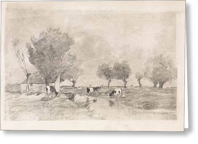 Landscape With Three Cows In A Ditch, Elias Stark Greeting Card by Quint Lox