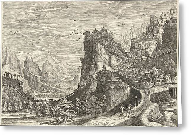 Landscape With Tobias And Archangel Raphael On Road Greeting Card by Johan Barra And Giovanni Domenico Zapponi