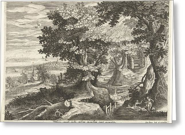 Landscape With Tobias And The Archangel Raphael Cleaning Greeting Card by Johan Barra And Giovanni Domenico Zapponi