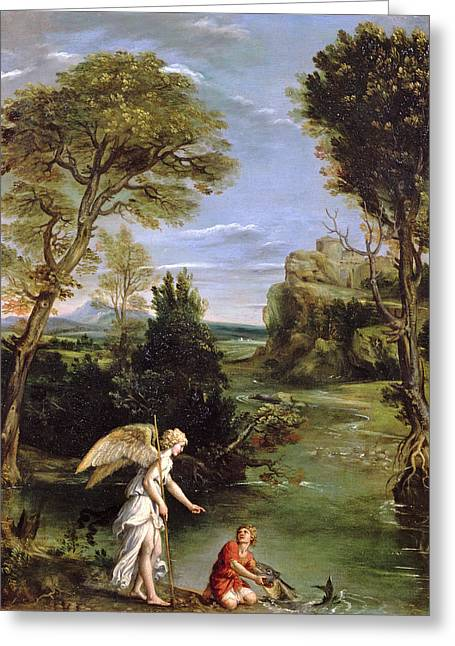 Landscape With Tobias Laying Hold Of The Fish, C.1615 Oil On Copper Greeting Card by Domenichino