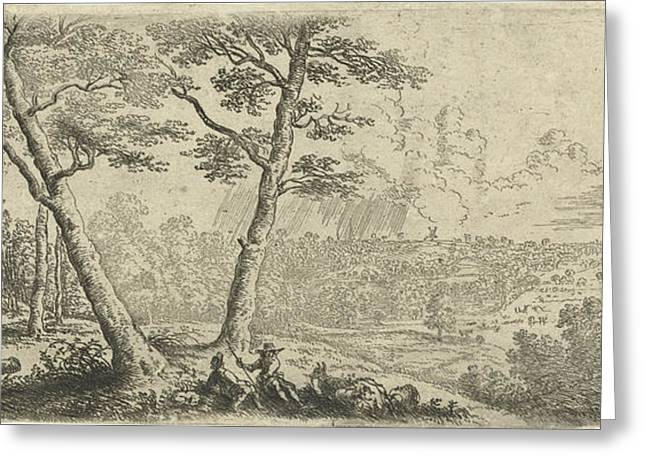 Landscape With Two Men Conversing, Print Maker Lucas Van Greeting Card
