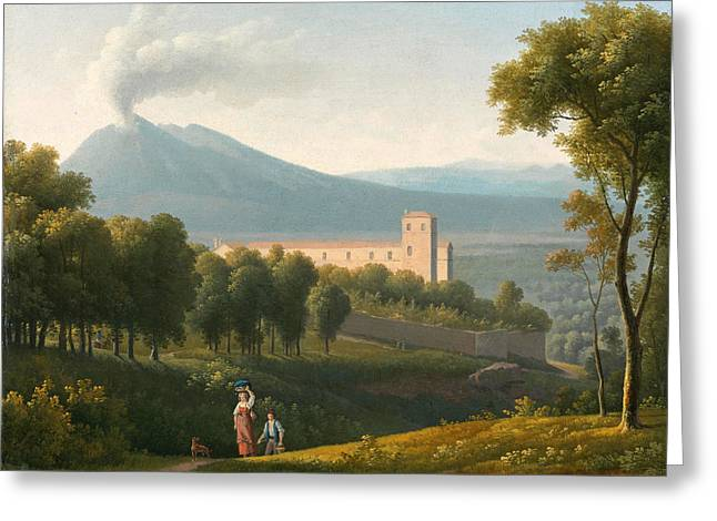 Landscape With Vesuvius In The Distance Greeting Card by Alexandre-Hyacinthe Dunouy